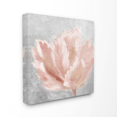 "30 in. x 30 in. ""Beautiful Large Flower Pink Grey Textured Painting"" by Lanie Loreth Canvas Wall Art"