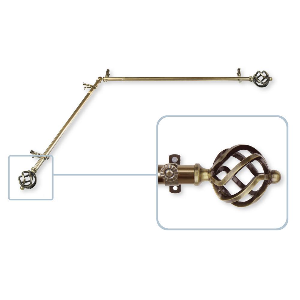 Twist 13/16 in. Dia 28-48 in. L Corner Window Single Curtain Rod in Antique Brass