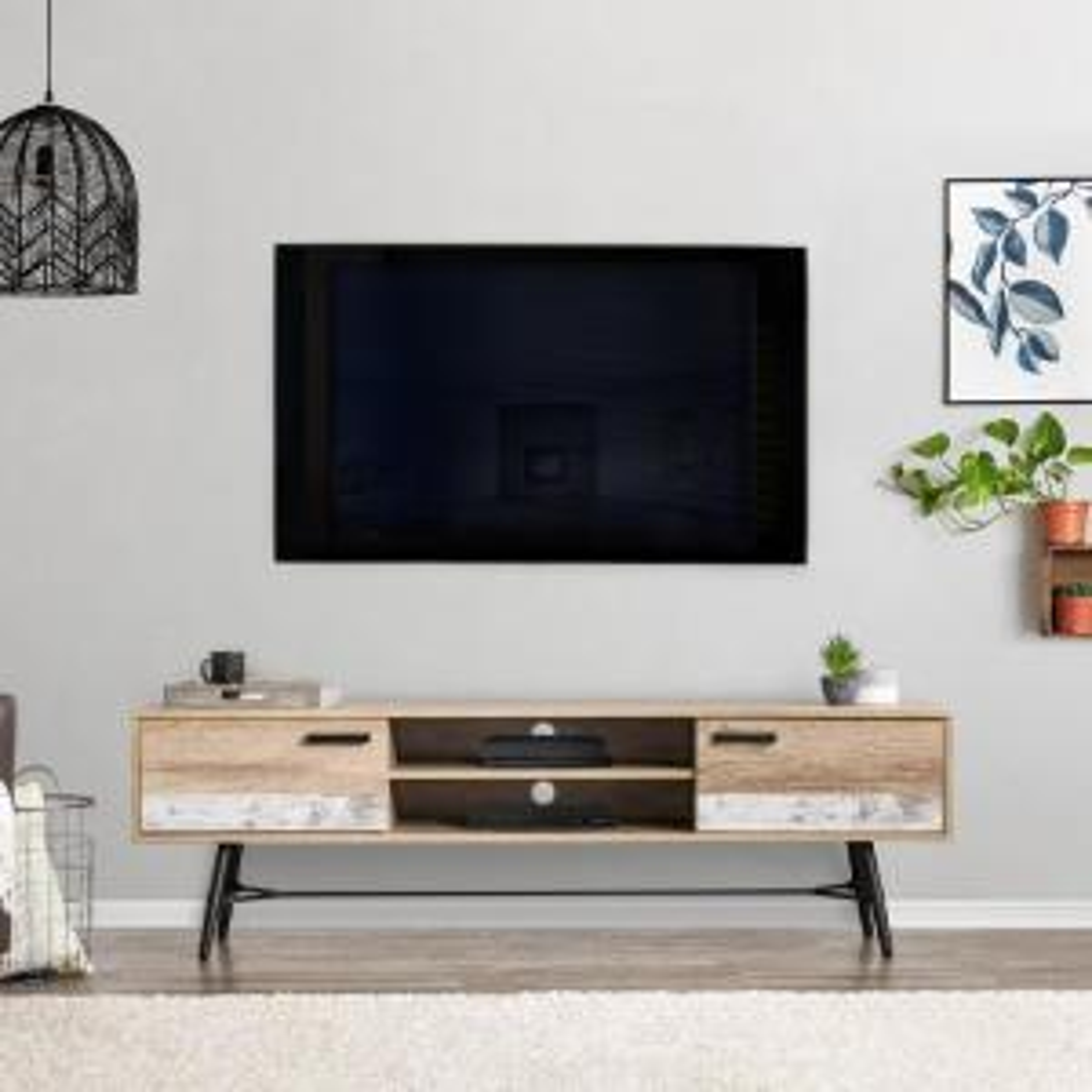 Terrific Corliving Aurora Distressed Warm Beige With White Duotone Tv Creativecarmelina Interior Chair Design Creativecarmelinacom