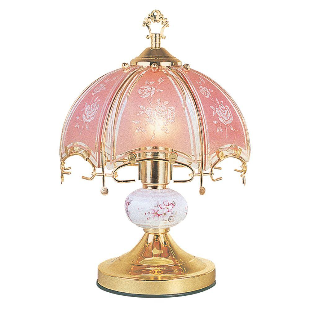 Ore International 14 In Floral Brushed Gold And Pink Touch Lamp