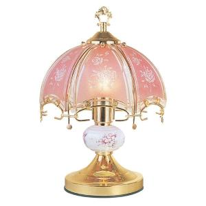 ORE International 14 inch Floral Brushed Gold and Pink Touch Lamp by ORE International