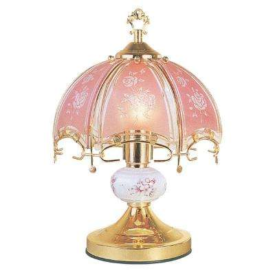 14 in. Floral Brushed Gold and Pink Touch Lamp