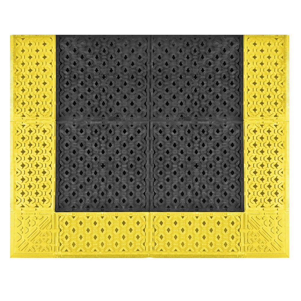 No Trax Cushion-Lok Black with Yellow Border 30 in. x 60in.
