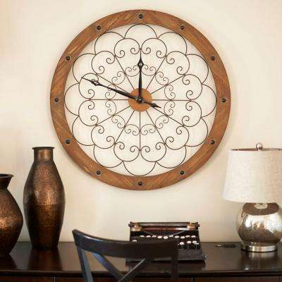 Wall Clock with Scroll Panel