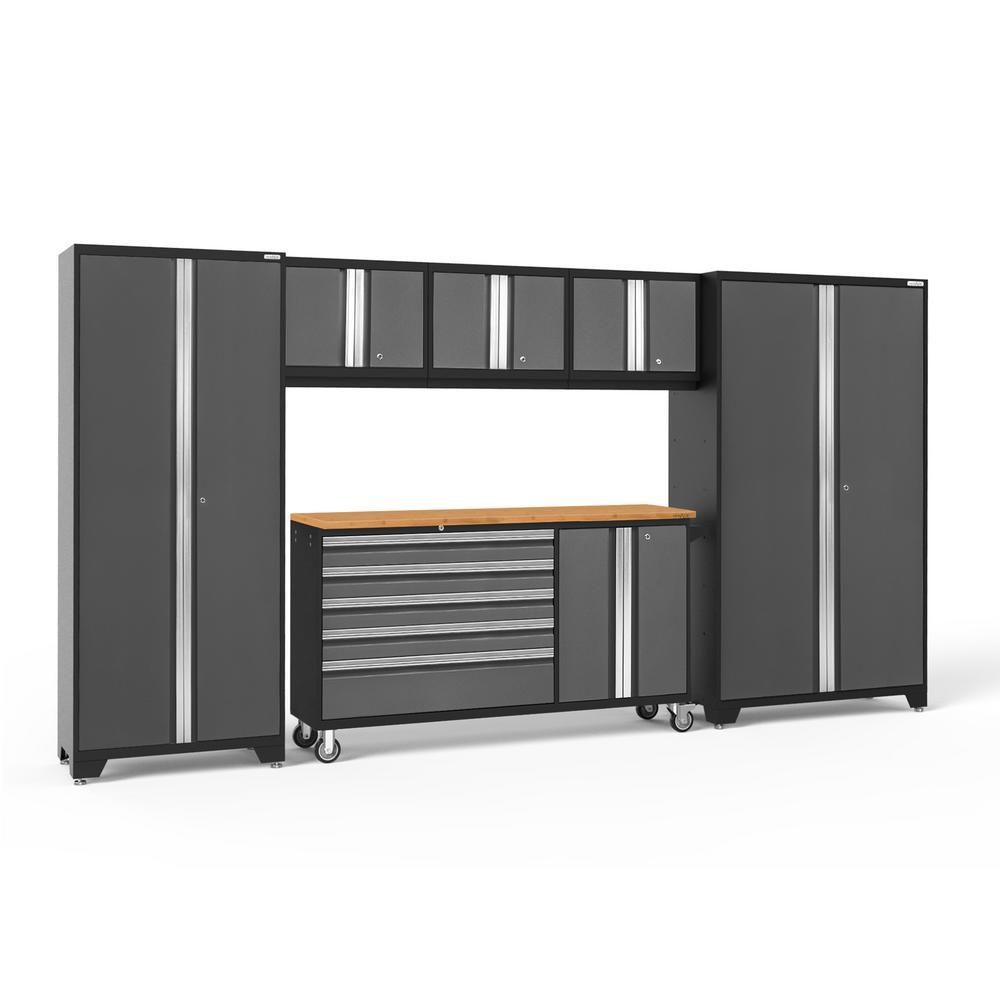 Bold 3.0 77.25 in. H x 144 in. W x 18 in. D 24-Gauge Welded Steel Garage Cabinet Set in Gray (6-Piece)
