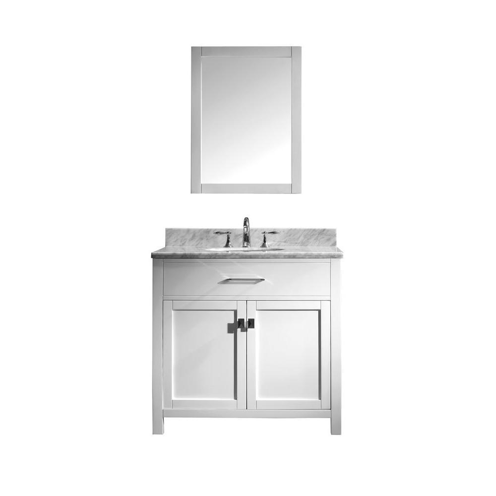 Virtu USA Caroline 36 in. Single Basin Vanity in White with Marble Vanity Top in Italian Carrera White and Mirror