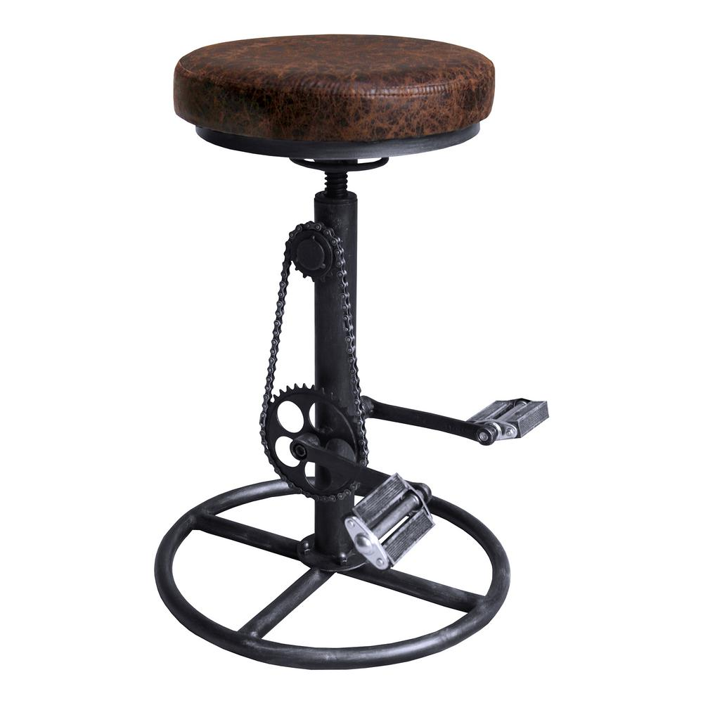 Ali Industrial Grey Adjustable Bar Stool