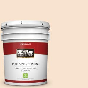 Behr Premium Plus 5 Gal Icc 31 Oat Flour Flat Low Odor Interior Paint And Primer In One 105005 The Home Depot