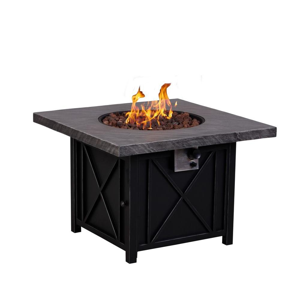 Afterglow cottage 34 in square terrafab slate look top with steel square terrafab slate look top with steel base propane gas fire pit fw ctgsqfp the home depot geotapseo Image collections