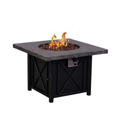 Cottage 34 in. Square Terrafab Slate Look Top with Steel Base Propane Gas Fire Pit