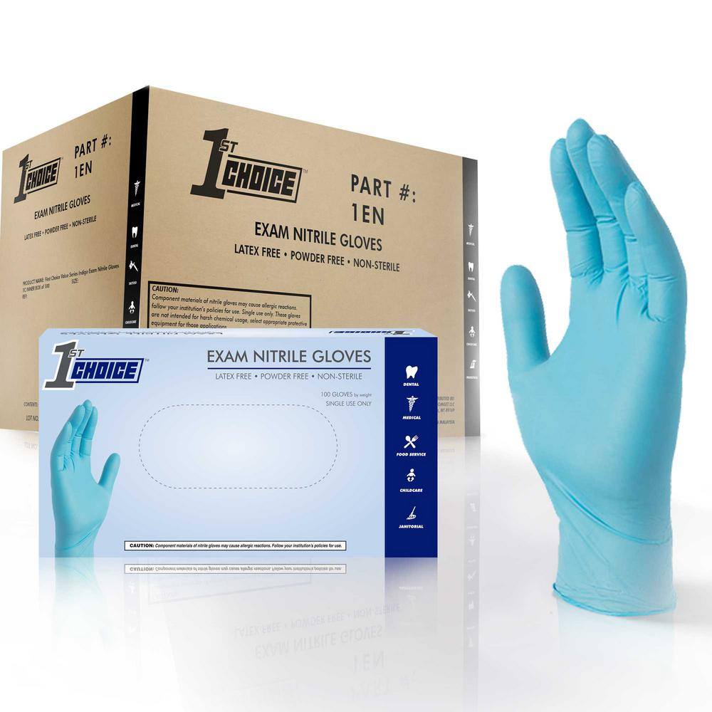 Medium Blue Nitrile Exam Powder-Free Disposable Gloves (10-Pack of 100-Count)