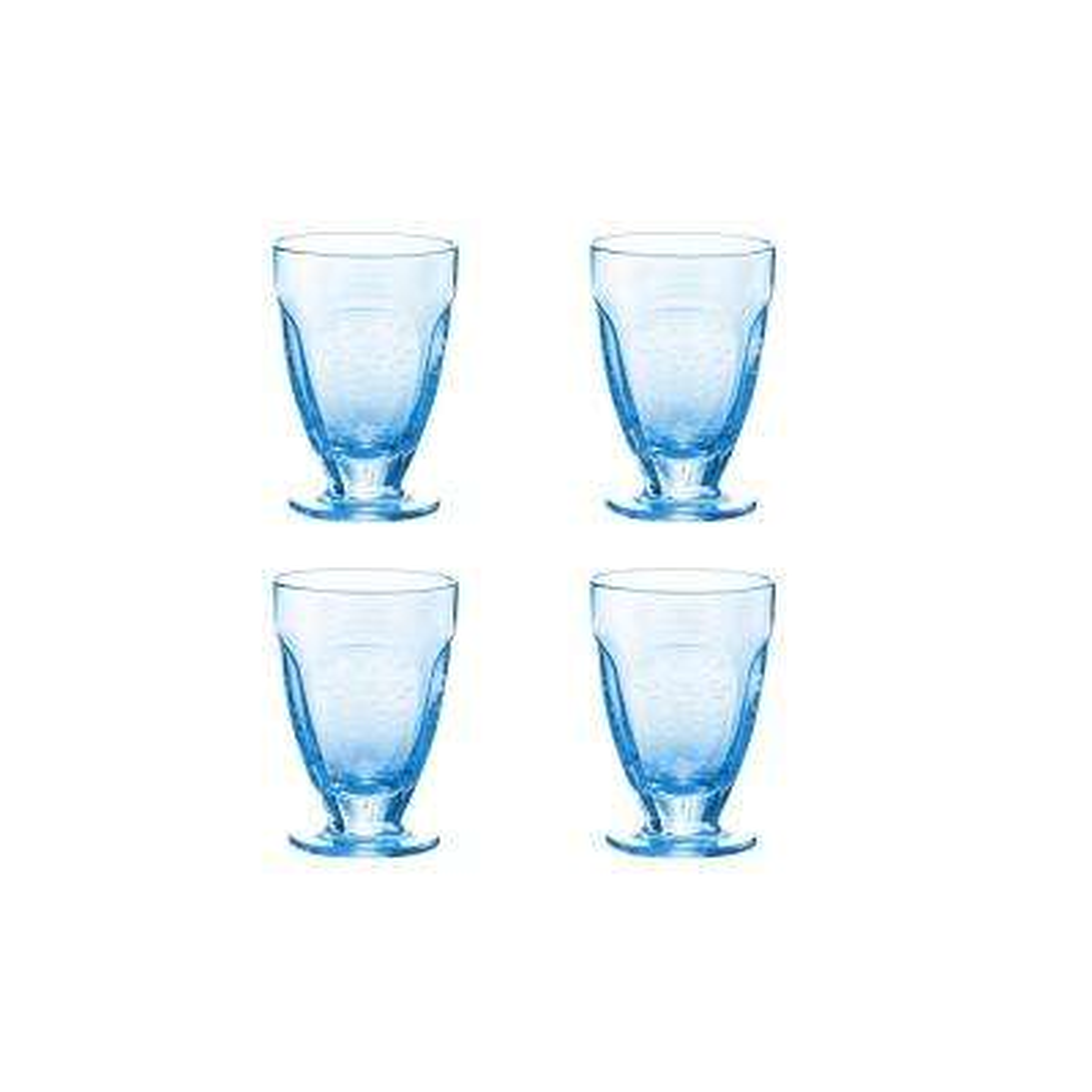 Arcadia Blue 4-Piece 7 oz. Etched Vintage Wine Glass