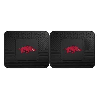 NCAA University of Arkansas Black Heavy Duty 2-Piece 14 in. x 17 in. Vinyl Utility Mat