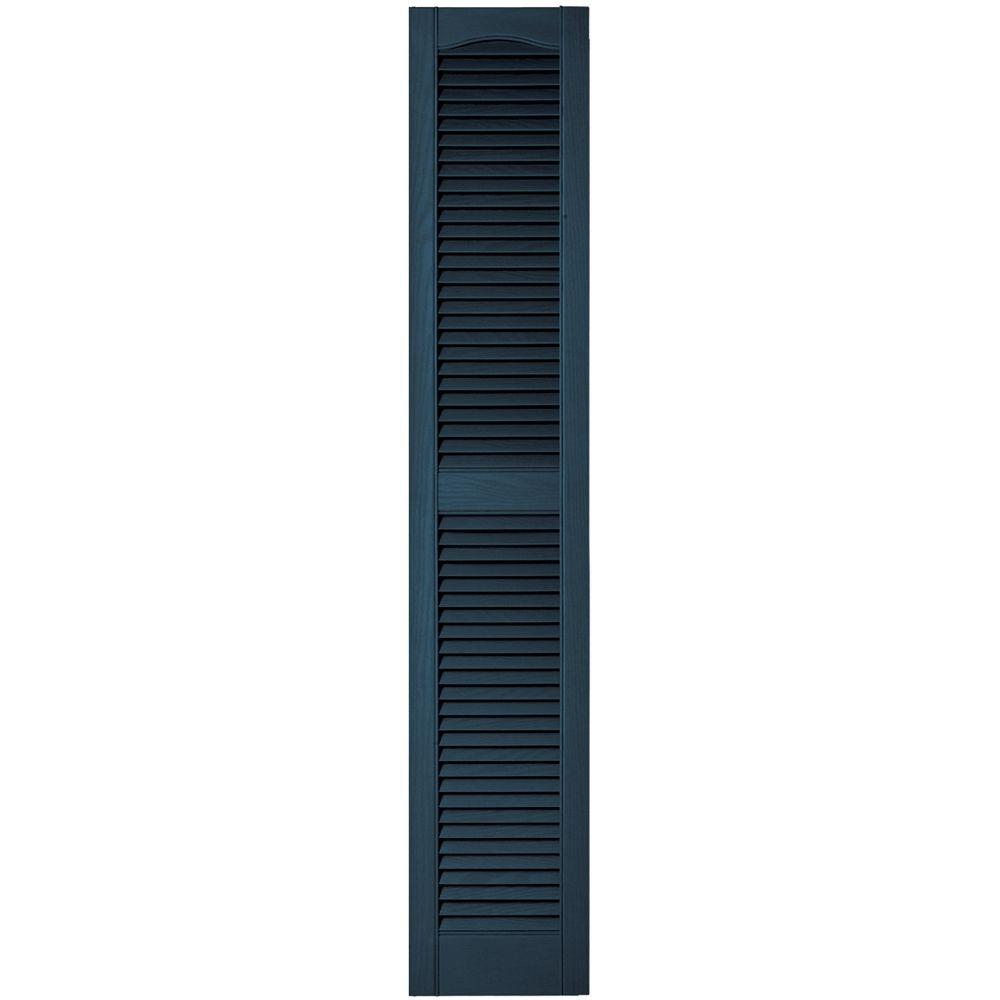 Builders Edge 12 in. x 64 in. Louvered Vinyl Exterior Shutters Pair in #036 Classic Blue