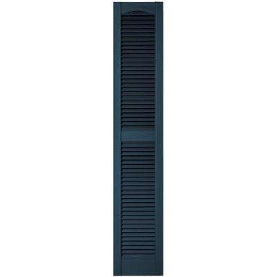 12 in. x 64 in. Louvered Vinyl Exterior Shutters Pair in #036 Classic Blue