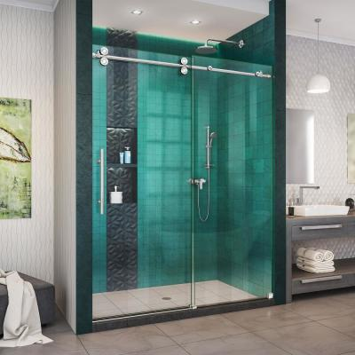 Enigma-XO 56-60 in. W x 76 in. H Fully Frameless Sliding Shower Door in Polished Stainless Steel