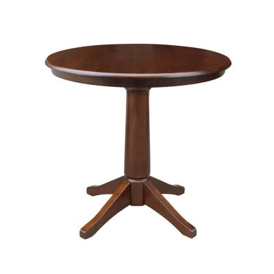 Espresso Solid Wood 36 in. Round Table and 2-San Remo Chairs (3-Piece)