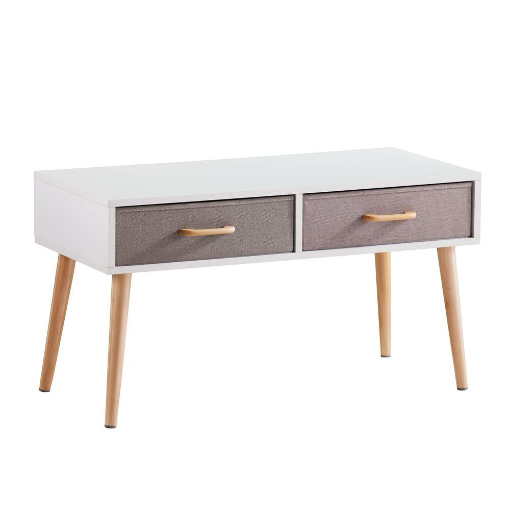 Southern Enterprise Piedmont White Coffee Table White Natural Taupe Soft Gray Image