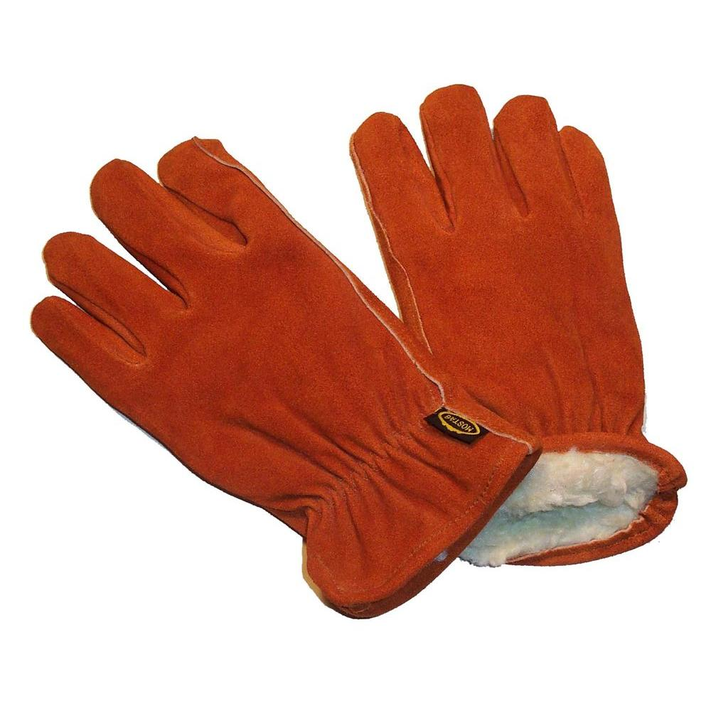 5 Pairs Of Fleece Lined Leather Lorry Drivers Work Gloves Safety Quality Size L