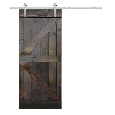 36 in. x 84 in. K-Design Primed Solid Pine Wood Barn Door with Sliding Door Hardware Kit