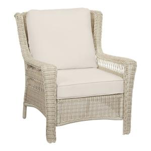 Park Meadows Off-White Wicker Outdoor Patio Lounge Chair with CushionGuard Almond Tan Cushions