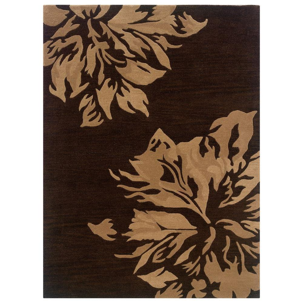 Linon Home Decor Florence Collection Chocolate and Sand 5 ft. x 7 ft. Indoor Area Rug