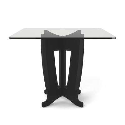 Jane 39.32 in. Black Gloss Sleek Tempered Glass Table Top