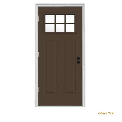 34 in. x 80 in. 6 Lite Craftsman Dark Chocolate Painted Steel Prehung Right-Hand Outswing Front Door w/Brickmould