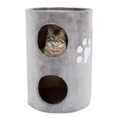 Grey Cat Condo with Scratching Surface
