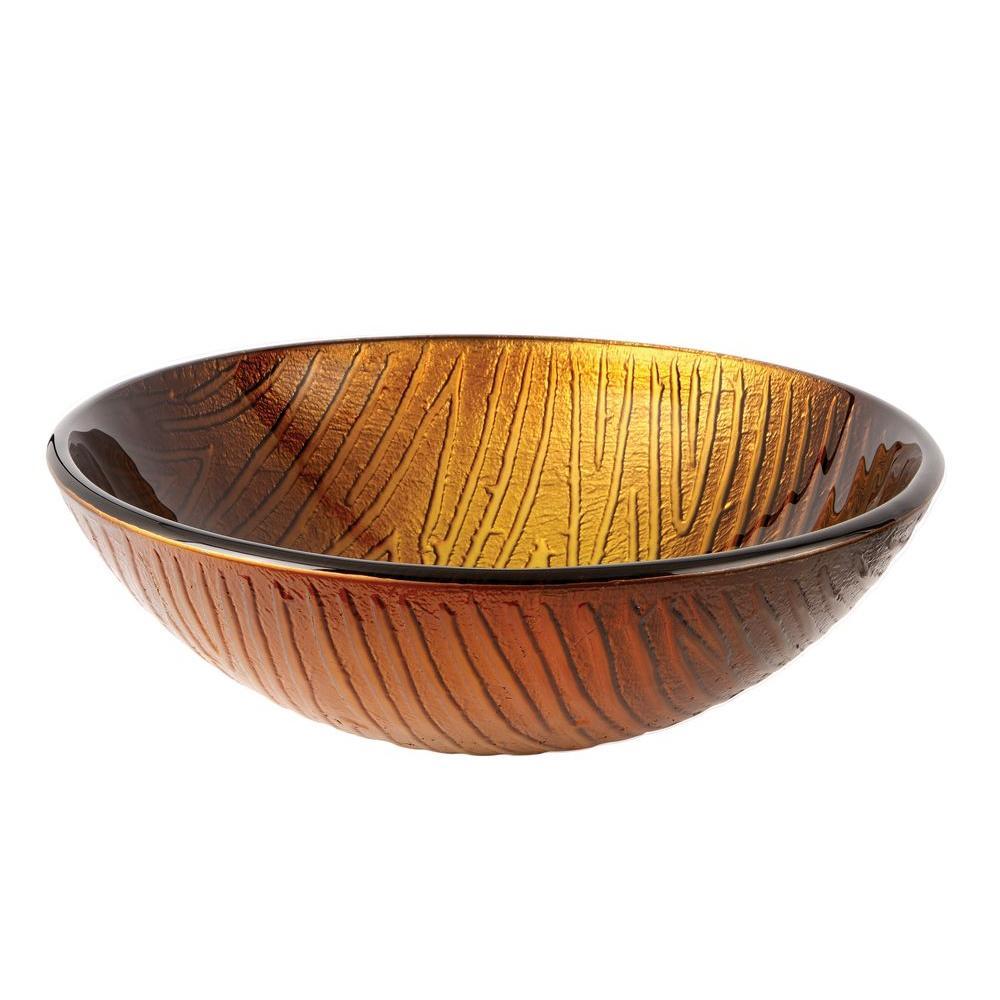 Sandstone Glass Vessel Sink in Amber