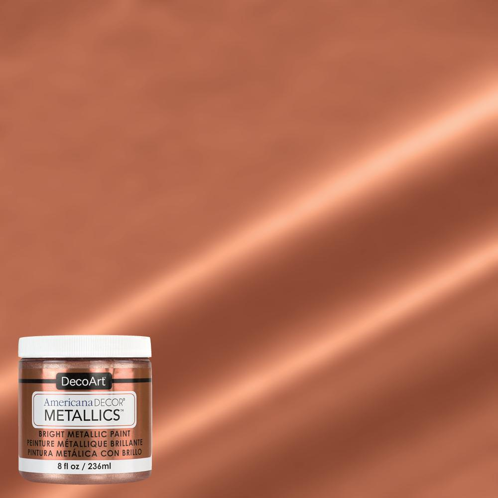 Americana Decor 8 Oz Metallic Rose Gold Paint Admtl03 98 The Home Depot