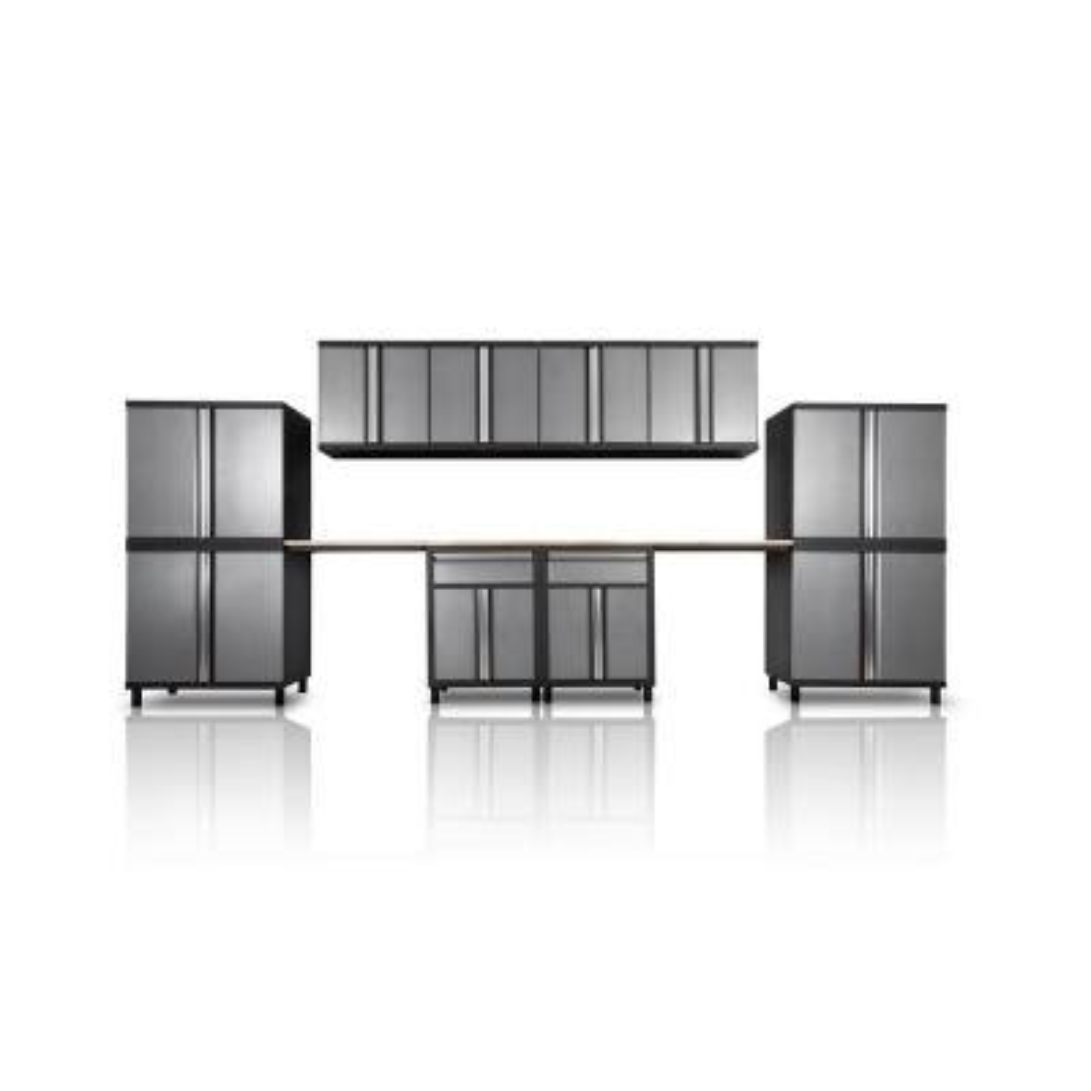 Pro Series III 81.1 in. H x 191 in. W x 18 in. D 23/24-Gauge Steel Wood Worktop Cabinet Set in Gray (12-Piece)