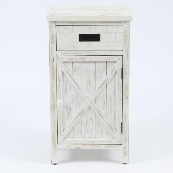 Luxen Home Wood Farmhouse White End Side Table Whif785 The Home Depot