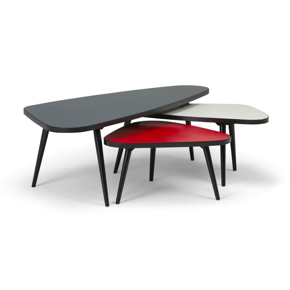 Simpli Home Aubrey Midnight Black Red White 3 Piece Nesting Coffee Table Set
