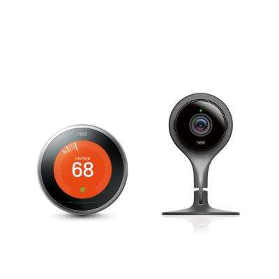 Nest Learning Thermostat 3rd Gen in Stainless Steel and Google Nest Cam Indoor Security Camera