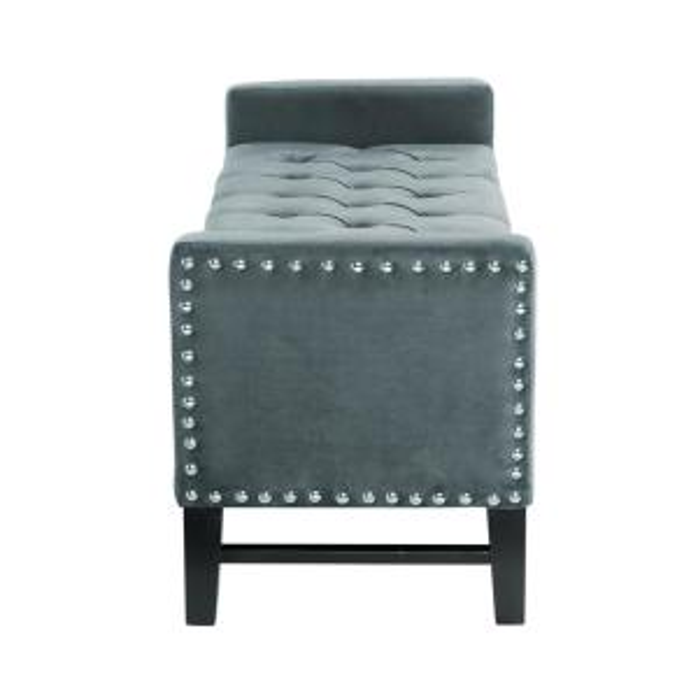 Tremendous Inspired Home Emmaline Slate Blue Velvet Storage Bench Bralicious Painted Fabric Chair Ideas Braliciousco