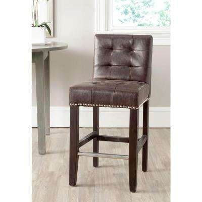 Thompson 25.8 in. Antique Brown Cushioned Bar Stool