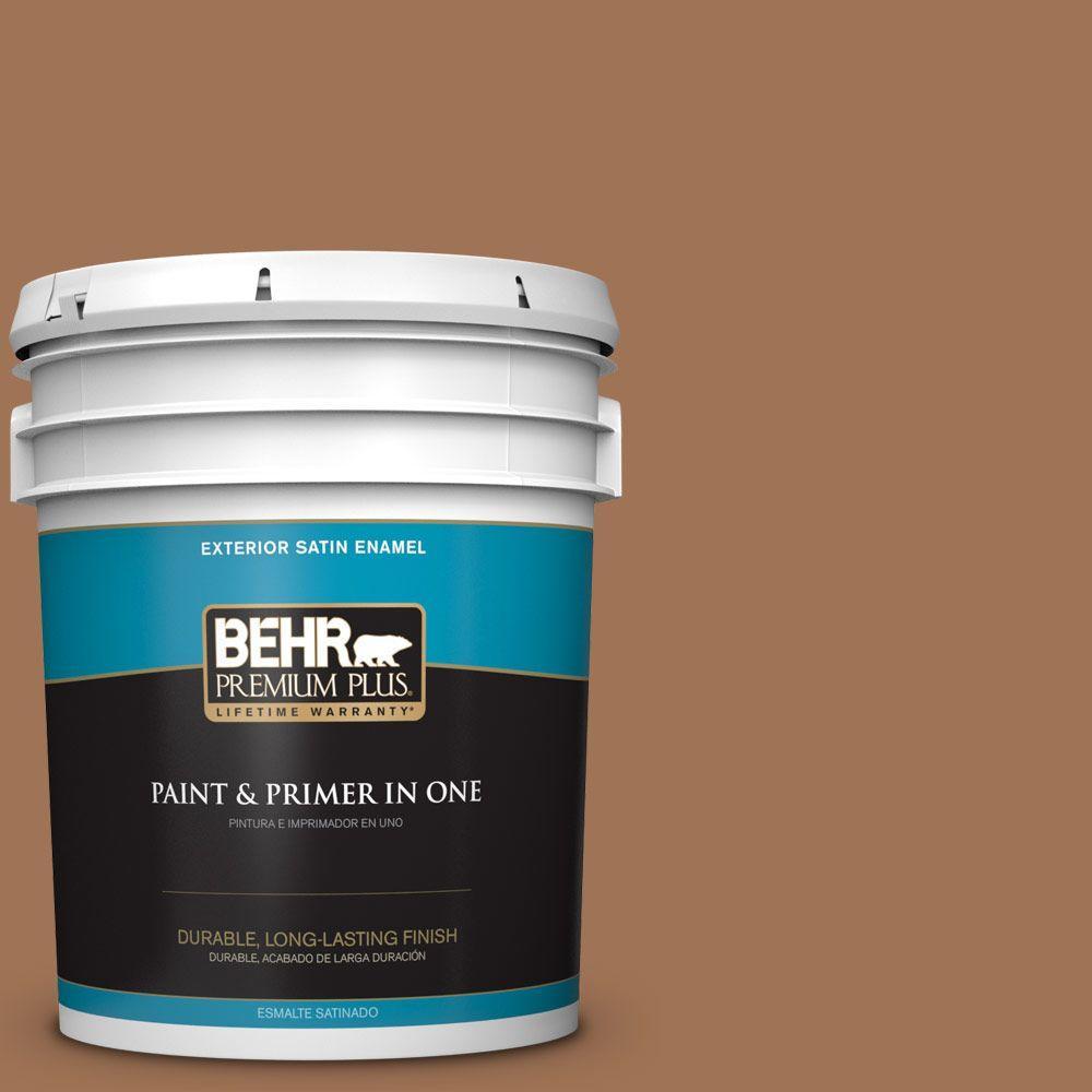 5-gal. #S240-6 Ranch Brown Satin Enamel Exterior Paint