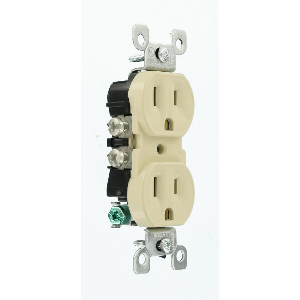 Leviton 15 Amp Co Alr Duplex Outlet Ivory R51 12650 00i The Home Depot