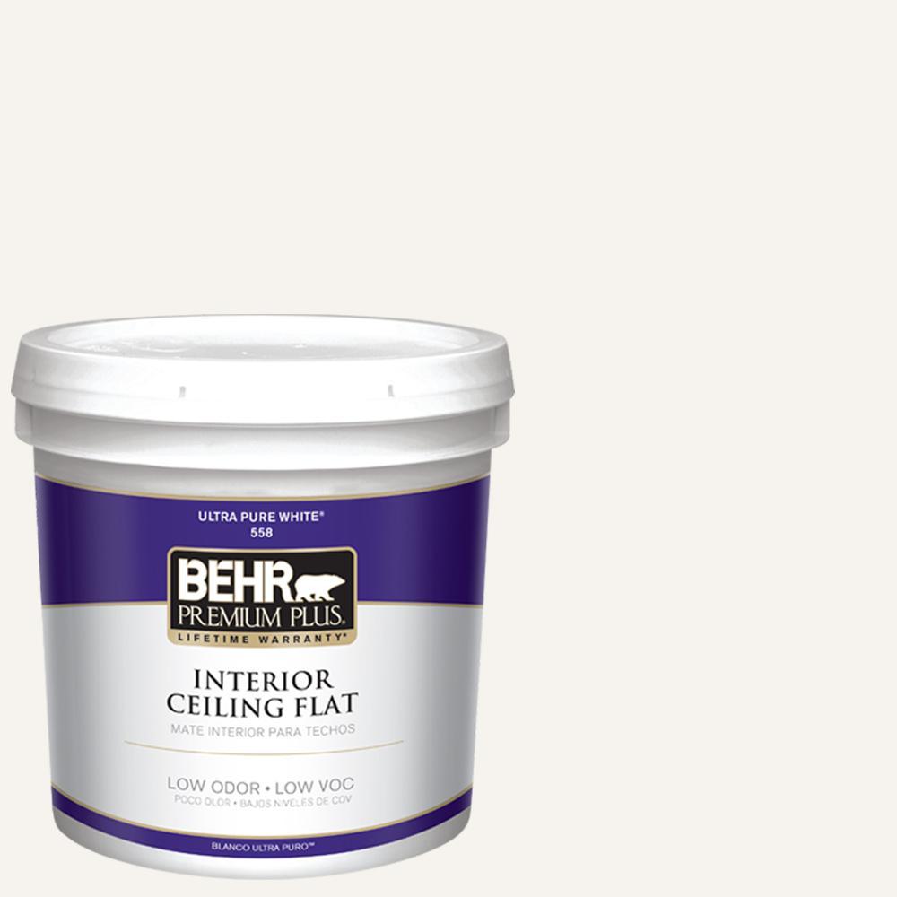 BEHR Premium Plus 2 gal. White Flat Ceiling Interior Paint