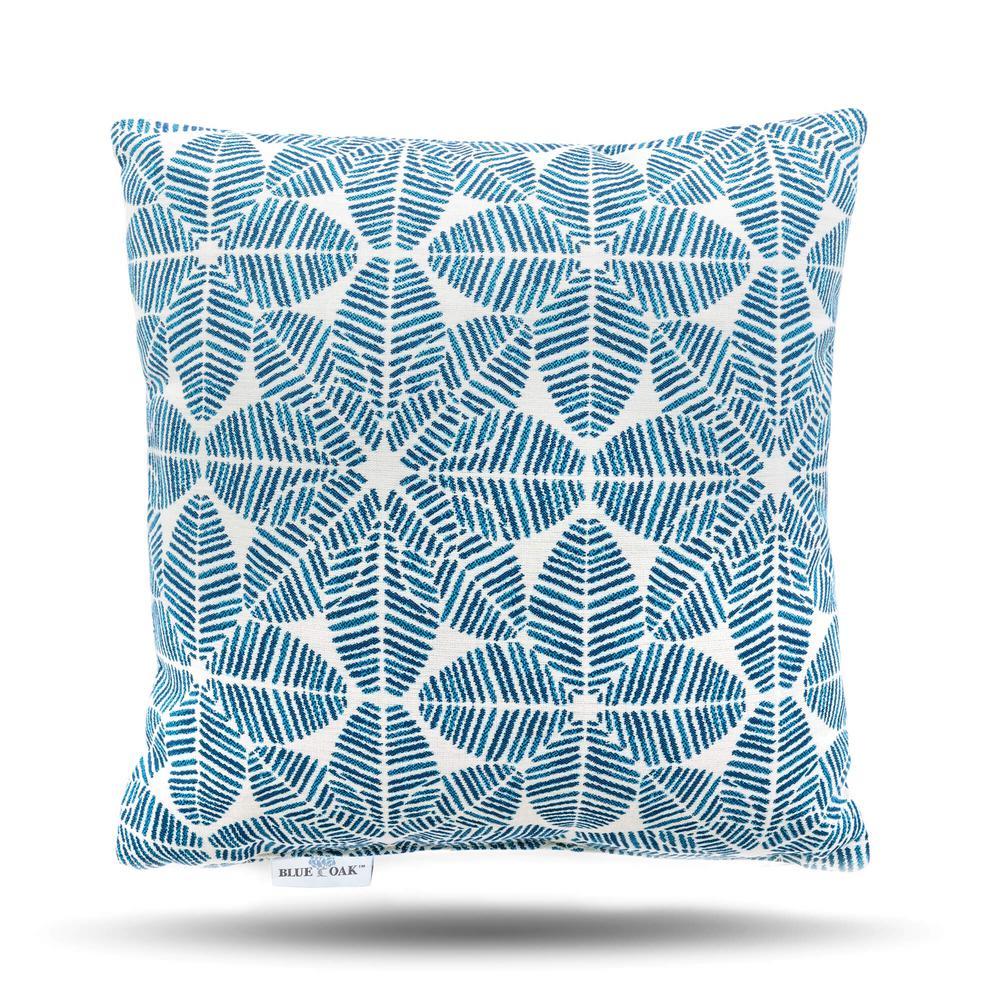 Outdura Palmetto Azure Square Outdoor Throw Pillow (2-Pack)