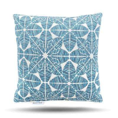 Outdura Palmetto Azure Square Outdoor Throw Pillow (2-Pack)