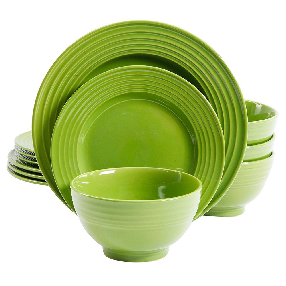 Gibson Plaza Cafe 12-Piece Green Dinnerware Set-98599934M - The Home ...