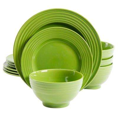 Plaza Cafe 12-Piece Green Dinnerware Set