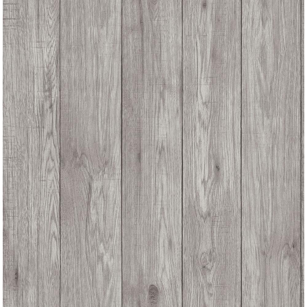 56.4 sq. ft. Mammoth Light Grey Lumber Wood Wallpaper