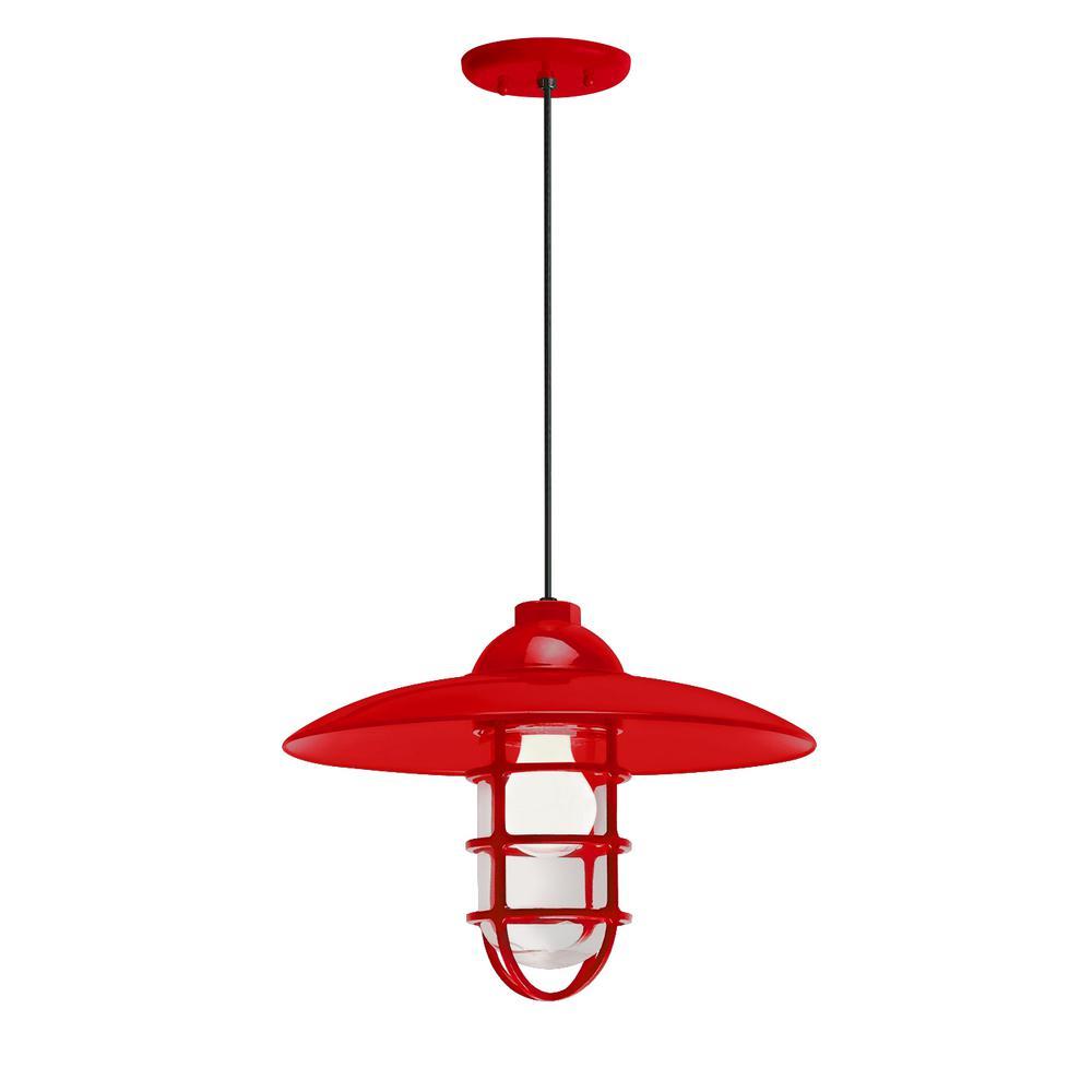 Retro Industrial 13 in. Shade 1-Light Red Finish Pendant