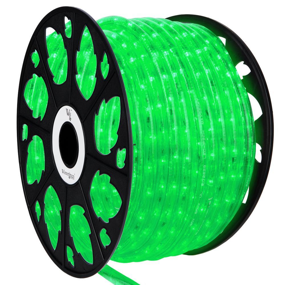 Wintergreen Lighting 150 Ft Led Green Rope Light Kit