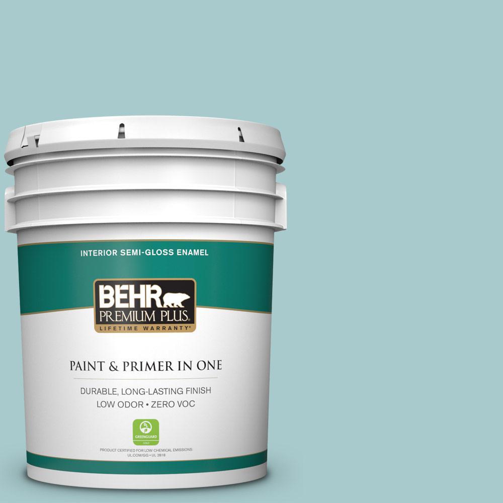 BEHR Premium Plus 5-gal. #PMD-95 Coastal Surf Zero VOC Semi-Gloss Enamel Interior Paint