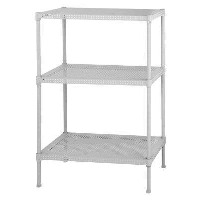 28 in. H x 24 in. W x 12 in. D 3-Shelf Perforated Steel Shelving Unit in White