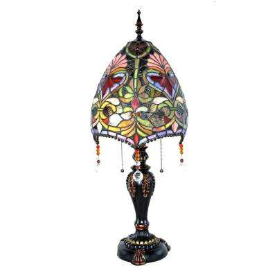 30.5 in. Multi-Colored Indoor Table Lamp with Stained Glass Brianne's Beaded Shade